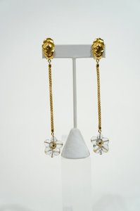 Vintage Vintage Gold Tone Rope & Murano Glass Cluster Dangle Drop Earrings.