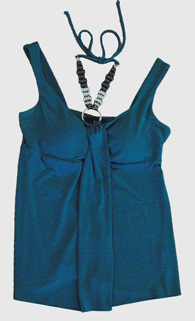 IZ Byer California Jewel Halter Tank Padded Silver Pewter Ring Detail Top turquoise