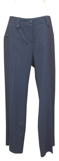 Armani Collezioni Virgin Wool Leg Stretch Mid-rise Straight Pants Blue