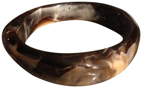 Other Marbled Lucite Abstract Brown Cream Bangle Cuff Bracelet