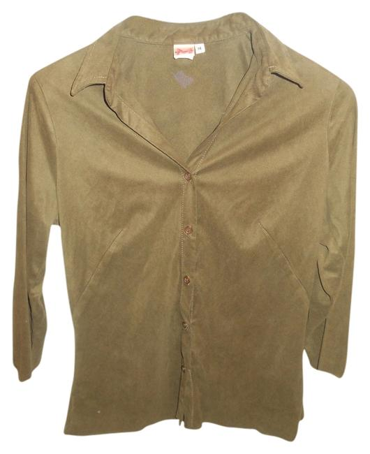 Studio M Macy's Olive Green Buttons M Button Down Shirt Olive Green/Brown