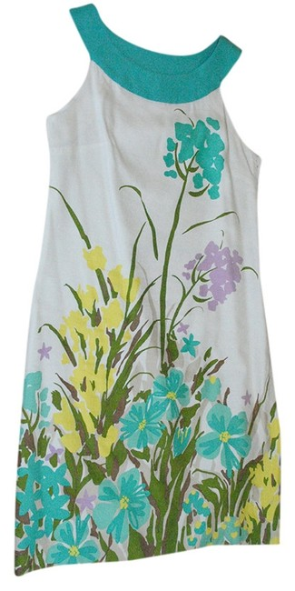 Merona short dress teal floral Floral Linen Teal Blue Green A Line Sleeveless White on Tradesy