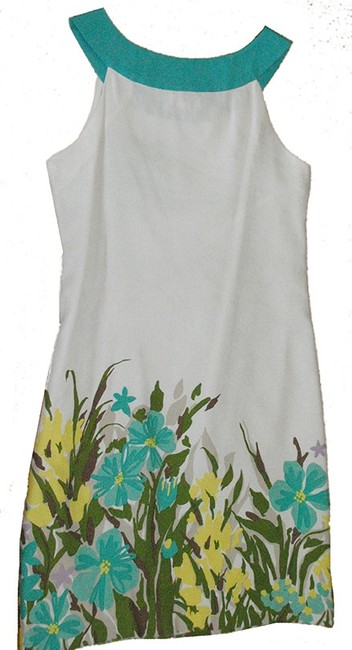 Merona short dress teal floral Linen Blue Green A Line Sleeveless White on Tradesy