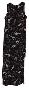 black/animal print Maxi Dress by Nicole Miller Long Jungle Drop Waist