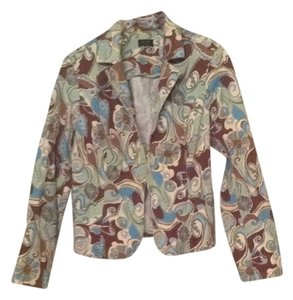 Nicole Miller Jacket Brown Blues Greens Cream Print Blazer