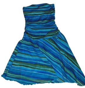 Xhilaration short dress Turquoise / green/ blue Strapless Flouncy Ruching on Tradesy