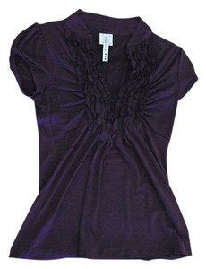 Heart Soul Ruffles Short Sleeve Loose Comfortable Top Deep Purple