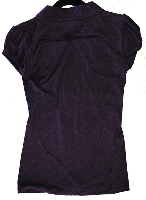 HeartSoul Ruffles Short Sleeve Loose Comfortable Top Deep Purple