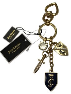Juicy Couture NWT Juicy Couture Gold Logo Sword Shield Diamond Keychain Keyfob