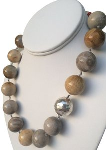 Signature necklace, hand-knotted, natural fossil stone with sterling silver findings