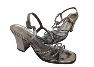 Saint Laurent Leather Classic Ysl Silver Sandals