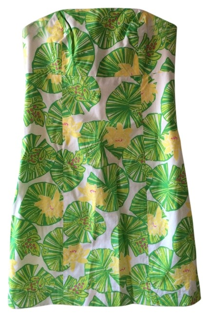 Lilly Pulitzer Strapless Tie-back Frog Pad Dress