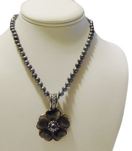 Honora Honora Black Pearl Necklace with Enhancer 16