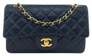 Chanel Gold Hardware Lambskin Quilted Logo Large Flap Shoulder Bag