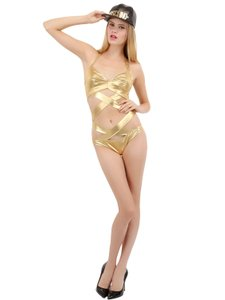 Moschino Gold Laminated Microfiber Swimsuit