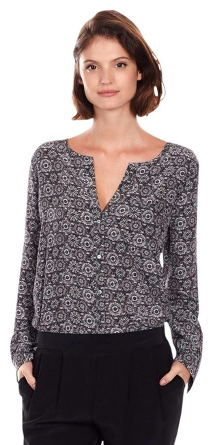 Joie Grey Gray Black Silk Work 3/4 Vince Tory Burch Equipment Splented Hh Tb Contemporary Amanda Uprichard Alice Olivia Top Caviar