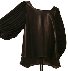 garcia Faux Leather Peplum Sheer Top Black