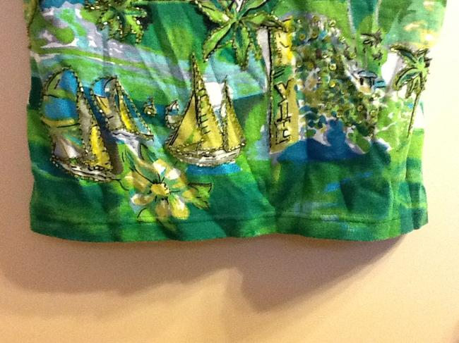 Forbidden Sparkle Floral Comfortable Loose Fit Boat Palm Trees Top Green