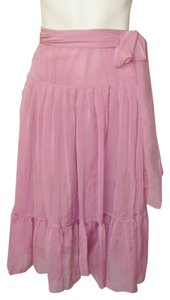 Dries van Noten Sheer Wrap Peasant Skirt Pink