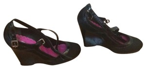 Juicy Couture Iltay Calf Hair Heels Black Wedges