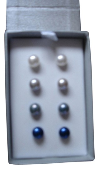 Honora Pearls HONORA BOXED 4 PC SET CULTURED PEARLS STERLING SILVER 925 STUDS EARRINGS NEW