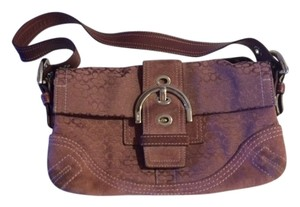 Coach Leather Monogram Buckle Over The Suede Shoulder Bag