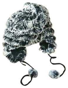 Real rabbit fur hat with ear flaps