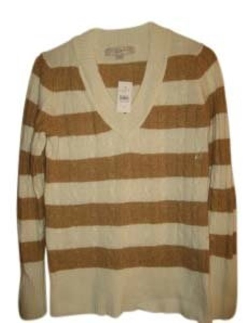 Preload https://item2.tradesy.com/images/ann-taylor-loft-cream-and-brown-stripe-cable-knit-v-neck-with-rabbit-hair-sweaterpullover-size-4-s-41031-0-0.jpg?width=400&height=650