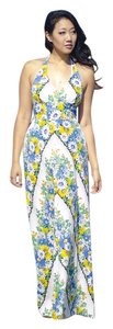blue, yellow, green, white, florals Maxi Dress by Anthropologie