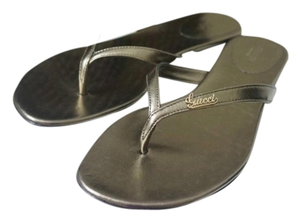 fb45f7e975cdb Gucci Bronze Pewter Metallic Leather Flip Flop New In A Box Sandals. Size   ...