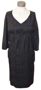Vince Silk Empire Waist Embroidered Rose Dress