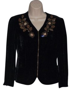 Nanette Lepore Velvet Jacket Beaded Zip Front Button Down Shirt Black