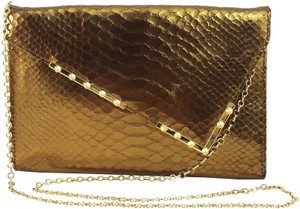Be&D Q Stamped Evening Leather Gold Clutch
