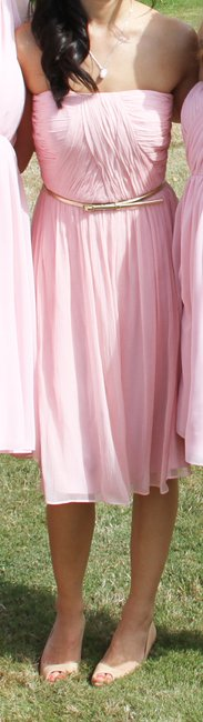 Donna Morgan Bridesmaid Chiffon Gold Pink Dress