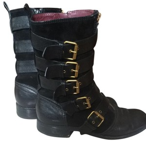 Marc Jacobs Black Leather/Suede Combo On The Inside, Burgundy Leather In The Inside Boots