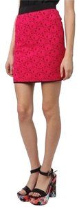 Urban Outfitters Lace Mini Neon Floral Mini Skirt Pink
