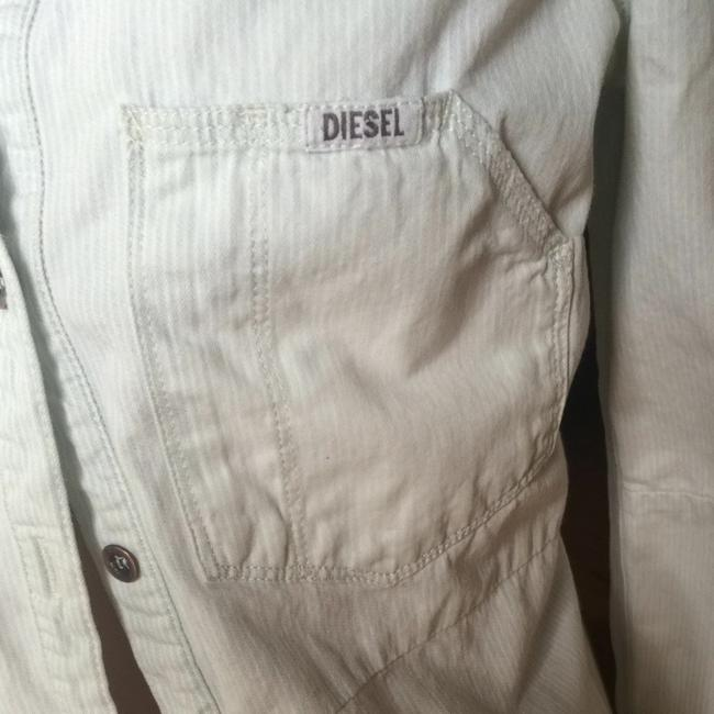 Diesel Button Down Shirt Baby Blue With Thin White Stripes
