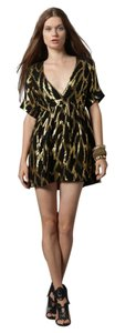 Myne Fashion Designer Short Lbd New Years Metallic Black Deep V Low Silk Holiday Party Season Dress