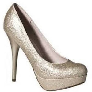 Mossimo Supply Co. Glitter Heels Gold Sparkle Pumps
