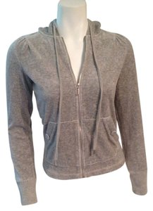 Juicy Couture Juicy Couture Grey Velour Zip-Up Sweatshirt - Size Small
