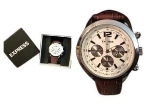 Express Express (Mens) Chronograph Leather Strap Watch