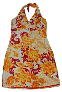 Mossimo short dress red yellow orange hibiscus print, reverse to solid red Print on Tradesy