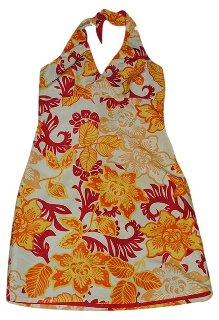 Mossimo short dress red yellow orange hibiscus print, reverse to solid red Halter on Tradesy