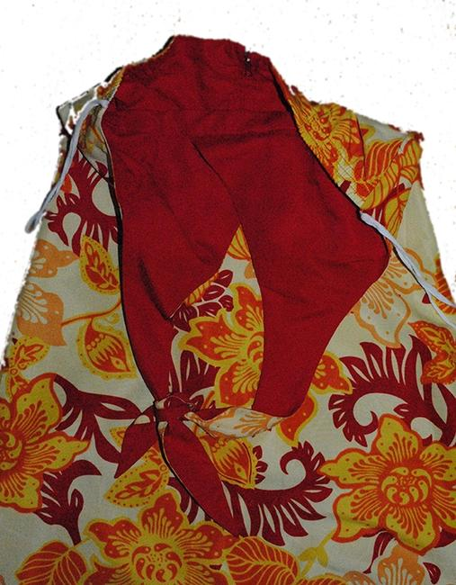 Mossimo Supply Co. short dress red yellow orange hibiscus print, reverse to solid red Reversable Halter Sundress on Tradesy