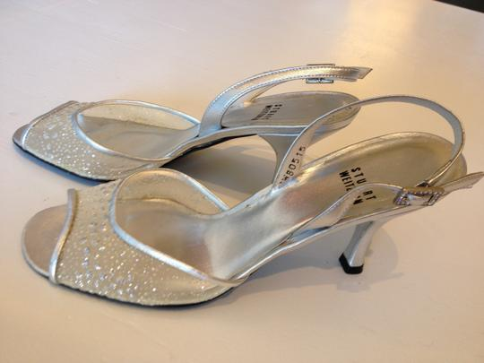 Stuart Weitzman Designer Wedding Formal Silver Sandals