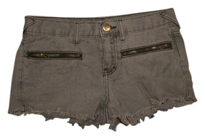 Free People Studded Zipper Cut Off Shorts Grey
