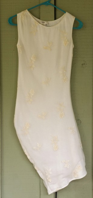 Whistles short dress Ivory Stretch Bodycon Embroidered Ruched Pull-on on Tradesy