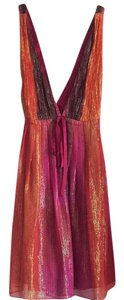 Alice + Olivia + Designer Fashion Mini Low Short Crisscross Strap Deep V Neck Iridescent New Years Party Dress