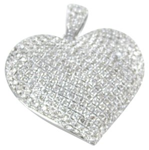 14KT KARAT WHITE GOLD PENDANT 288 PAVE DIAMOND BIG 3D HEART LUXURY FINE JEWELRY