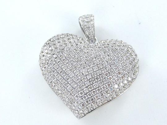 Other 14KT KARAT WHITE GOLD PENDANT 288 PAVE DIAMOND BIG 3D HEART LUXURY FINE JEWELRY